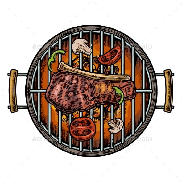Barbecue Grill Top View with Charcoal