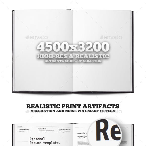Open Book or Magazine Mock-up Print Template