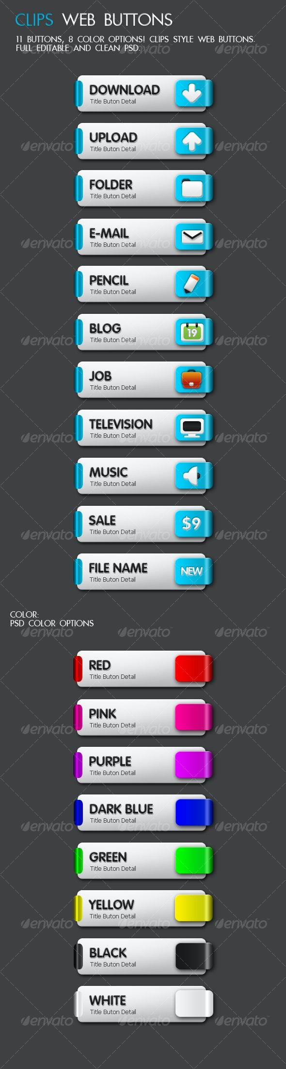 Clips Web Button - 11 Buttons, 8 Color - Buttons Web Elements