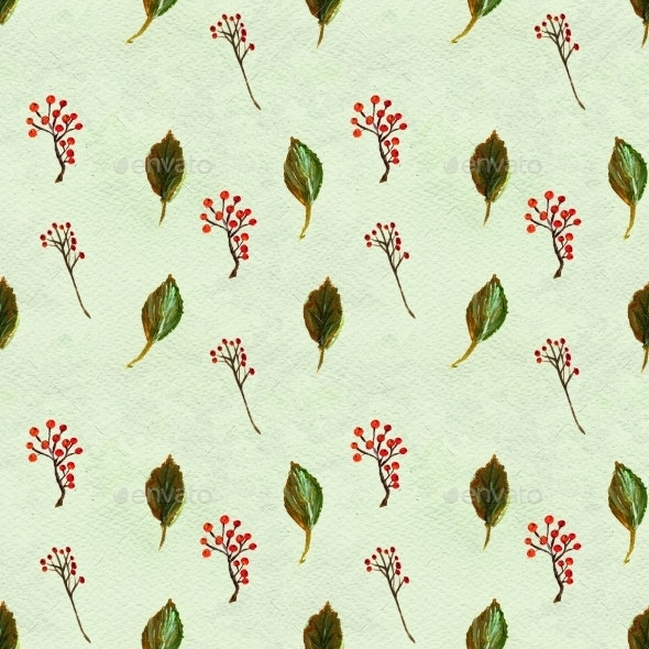 Seamless Pattern With Leaves And Berries - Backgrounds Decorative
