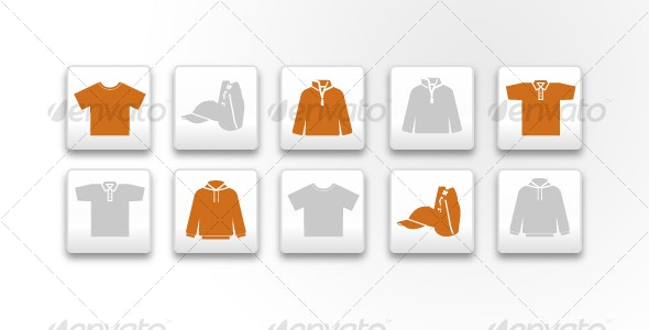 Textile Clothes 5 Icons Pack - Objects Vectors