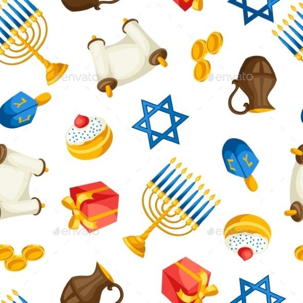 Jewish Hanukkah Celebration Seamless Pattern