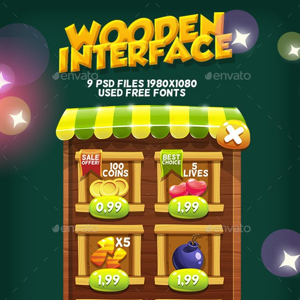 Wooden Game Interface #4