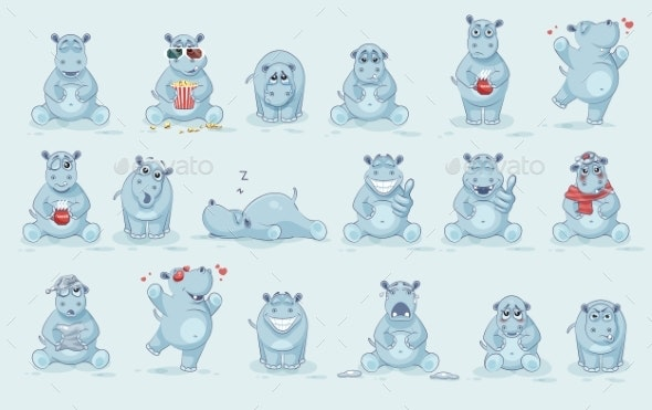 Set Of Hippo - Monsters Characters