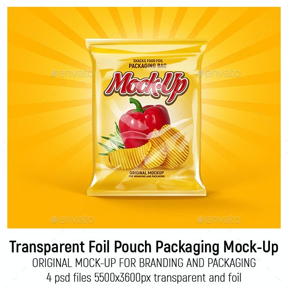 Transparent Foil Pouch Packaging Mock-Up