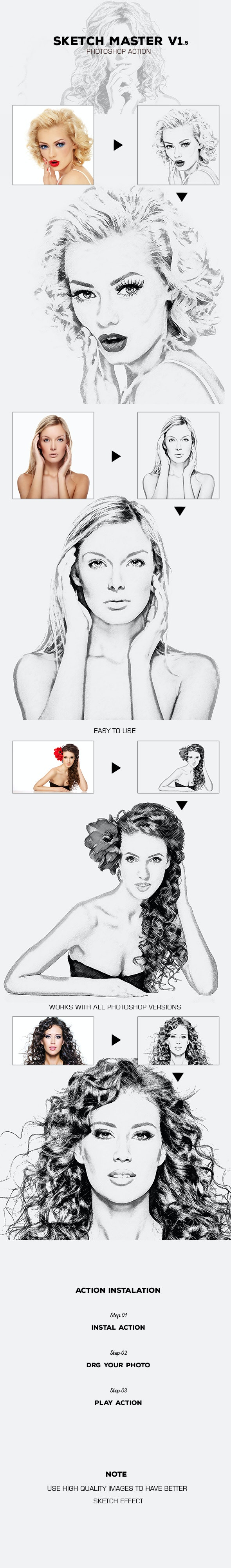 Sketch Master V 1.5 - Photoshop Action #27 - Photo Effects Actions