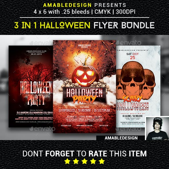 3 in 1 Halloween Flyer/Poster Vol.2