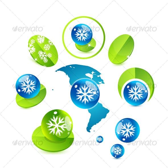 """Winter """"Green"""" vector design elements"""