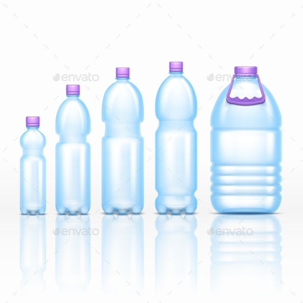 Realistic Plastic Drink Bottles Mockups Isolated - Objects Vectors