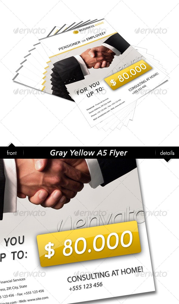Gray Yellow A6 Flyer - Commerce Flyers