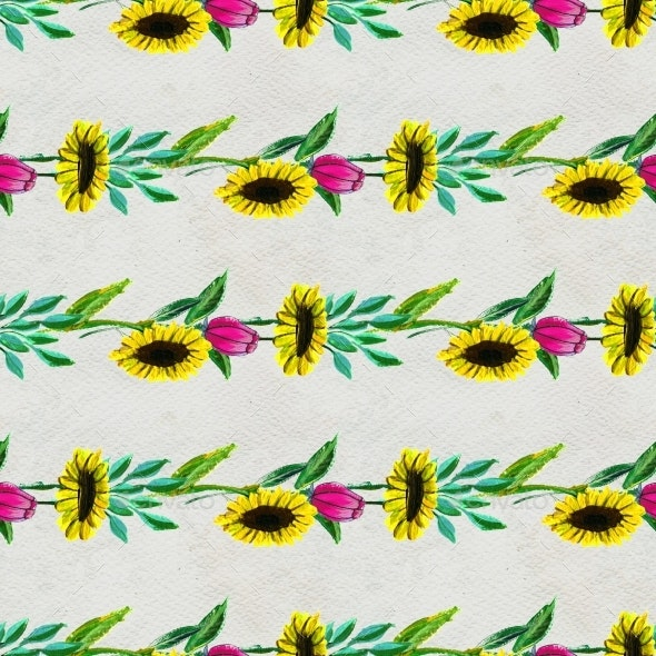 Seamless Pattern With Flowers And Leaves - Backgrounds Decorative