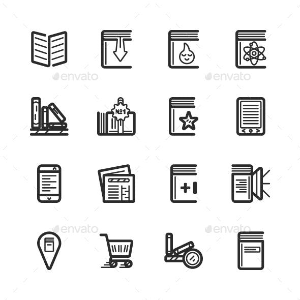 Outline Bookstore Icons