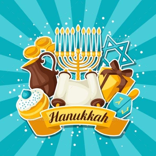 Jewish Hanukkah Celebration Card With Holiday