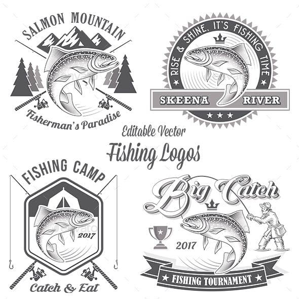 Vector Editable Fishing Logos