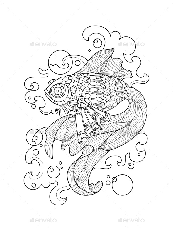Gold Fish Coloring Book For Adults Vector - Tattoos Vectors