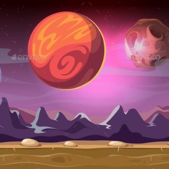 Cartoon Alien Fantastic Landscape With Moons