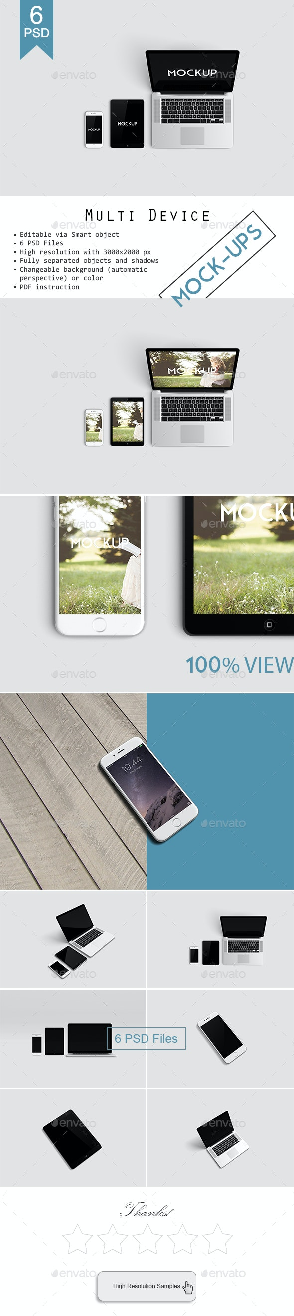 Multi Devices Responsive Website Mockup - Displays Product Mock-Ups