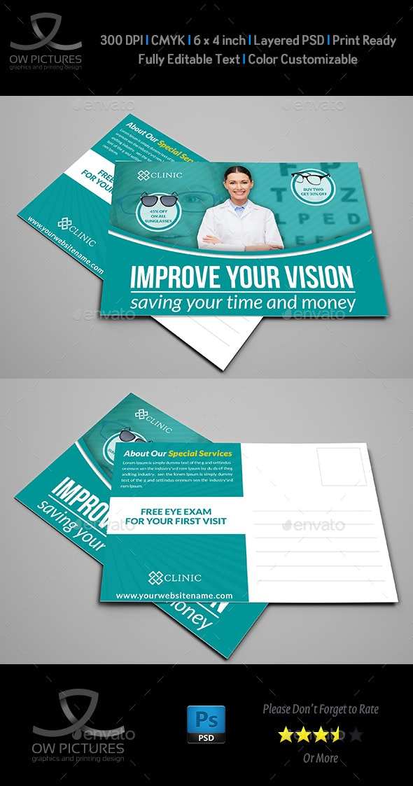 Optometrist & Optician Postcard Template - Cards & Invites Print Templates