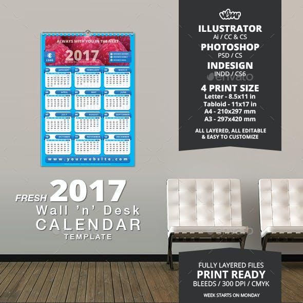 Fresh Wall n Desk 2017 Calendar Template