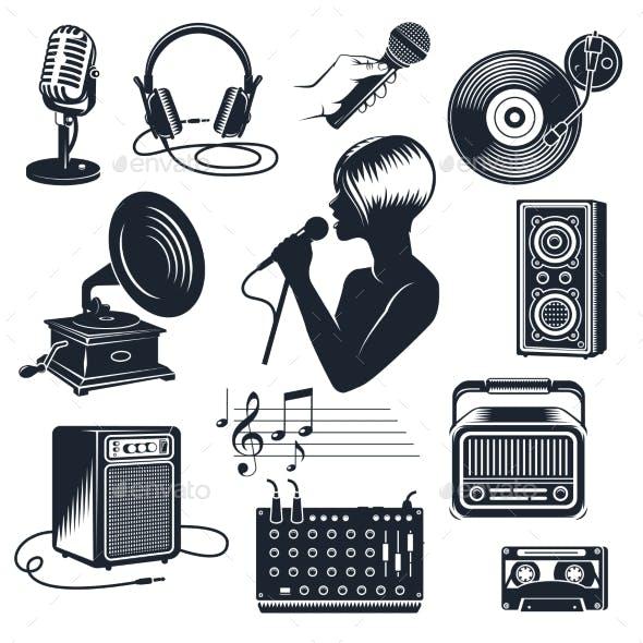 Karaoke Elements Monochrome Vintage Set