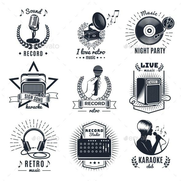 Karaoke Elements Monochrome Vintage Emblems