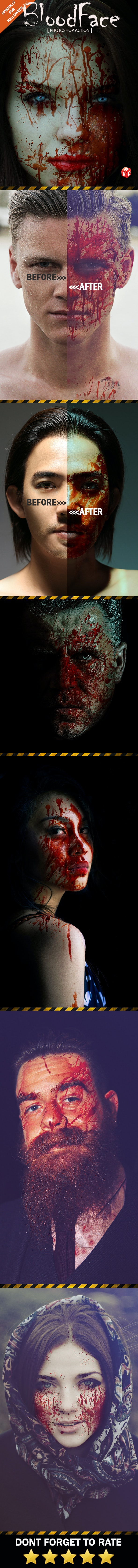 Blood Face Photoshop Action - Photo Effects Actions