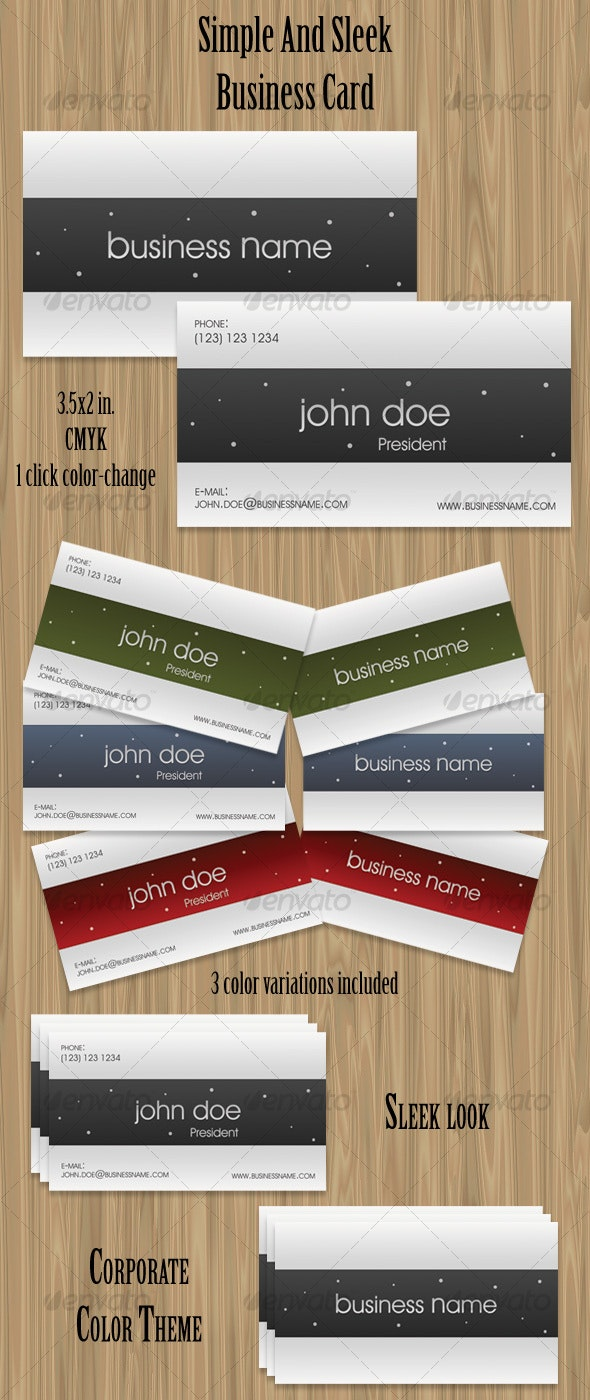 Simple And Sleek Business Card - Corporate Business Cards