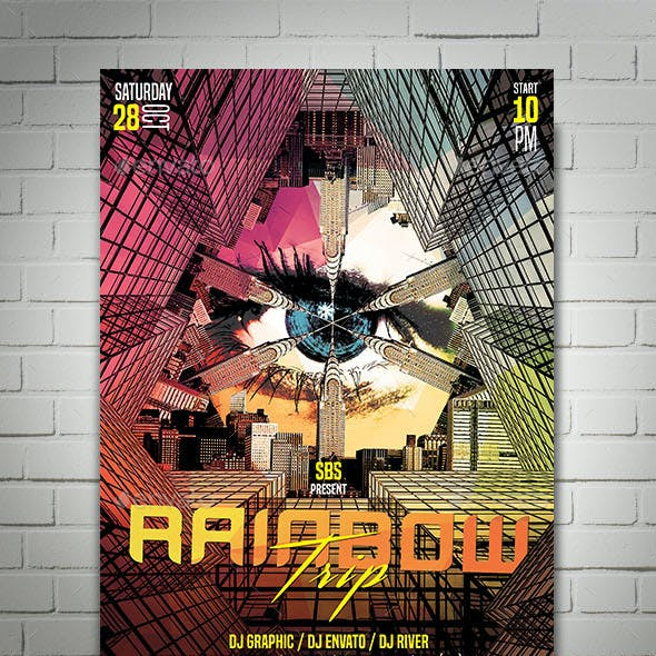 Rainbow Trip Flyer Template