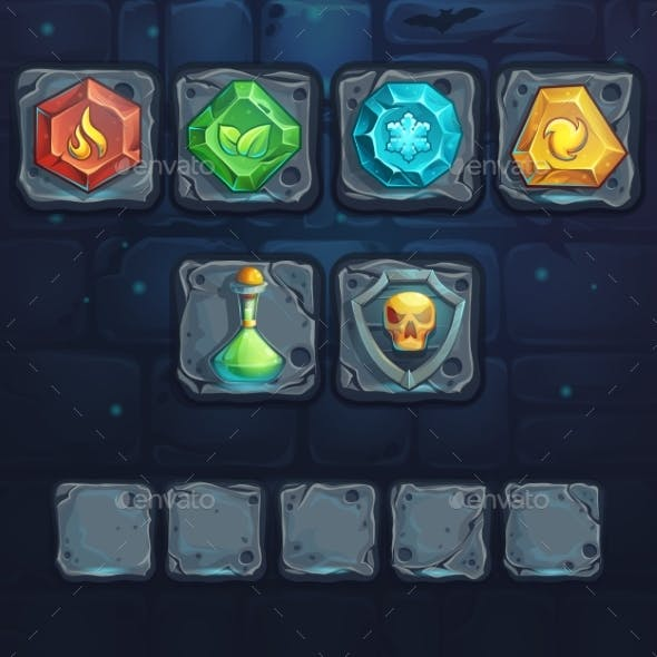Set Icons On The Stone Buttons