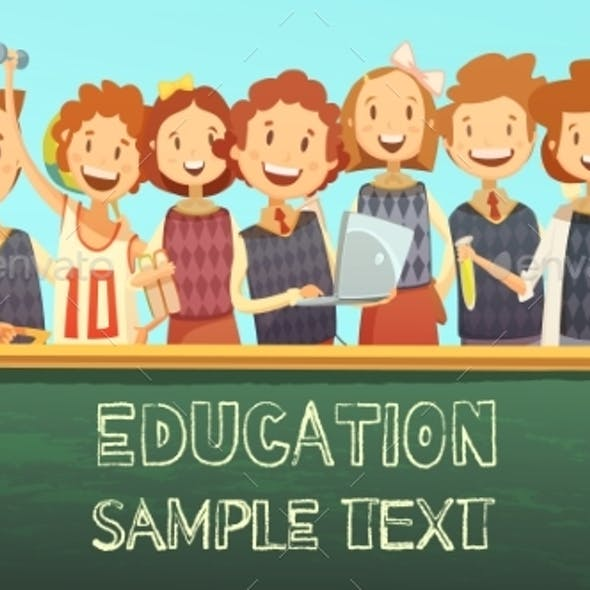 School Education Title Advertisement Cartoon