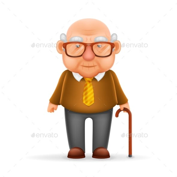 Old Man Grandfather 3d Realistic Cartoon Character