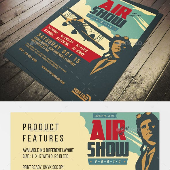 Vintage Airshow Party Poster