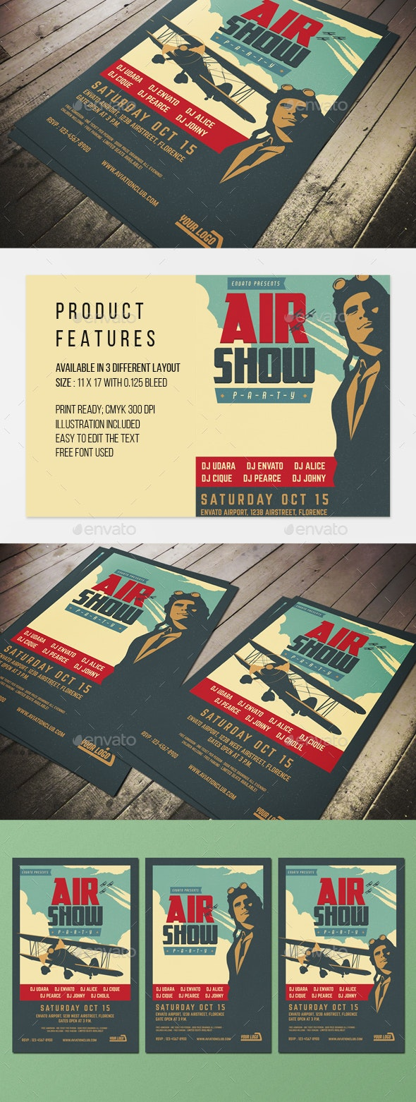 Vintage Airshow Party Poster - Events Flyers
