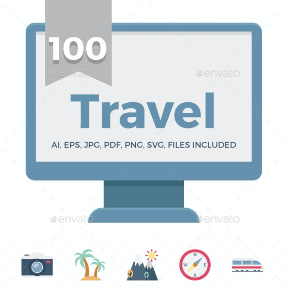 100 Travel Color Vector Icons
