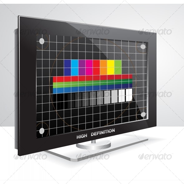 LCD TV set with television test chart - Technology Conceptual