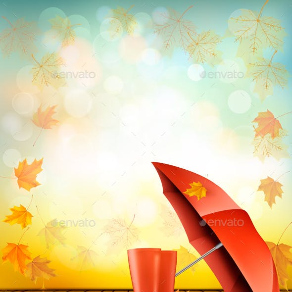 Autumn Background with Umbrella and Rain Boots