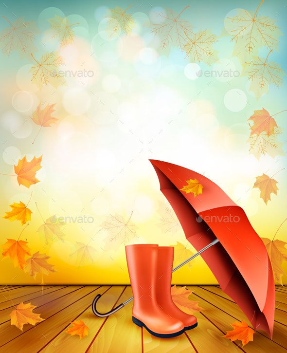 Autumn Background with Umbrella and Rain Boots - Backgrounds Decorative