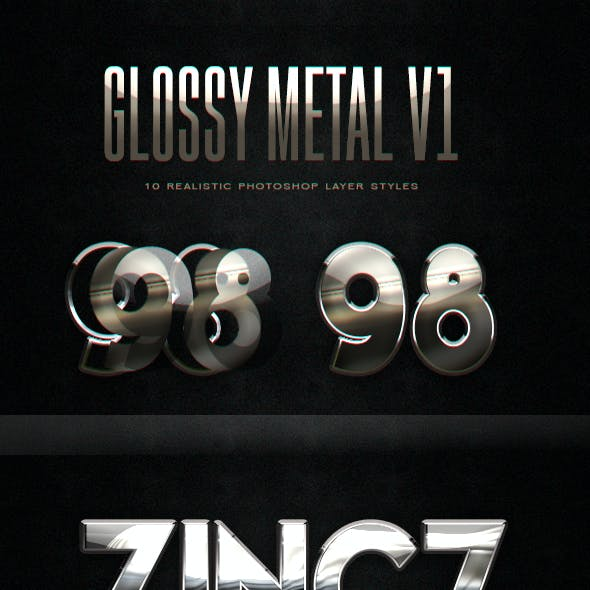 Glossy Metal Photoshop Layer Styles V1