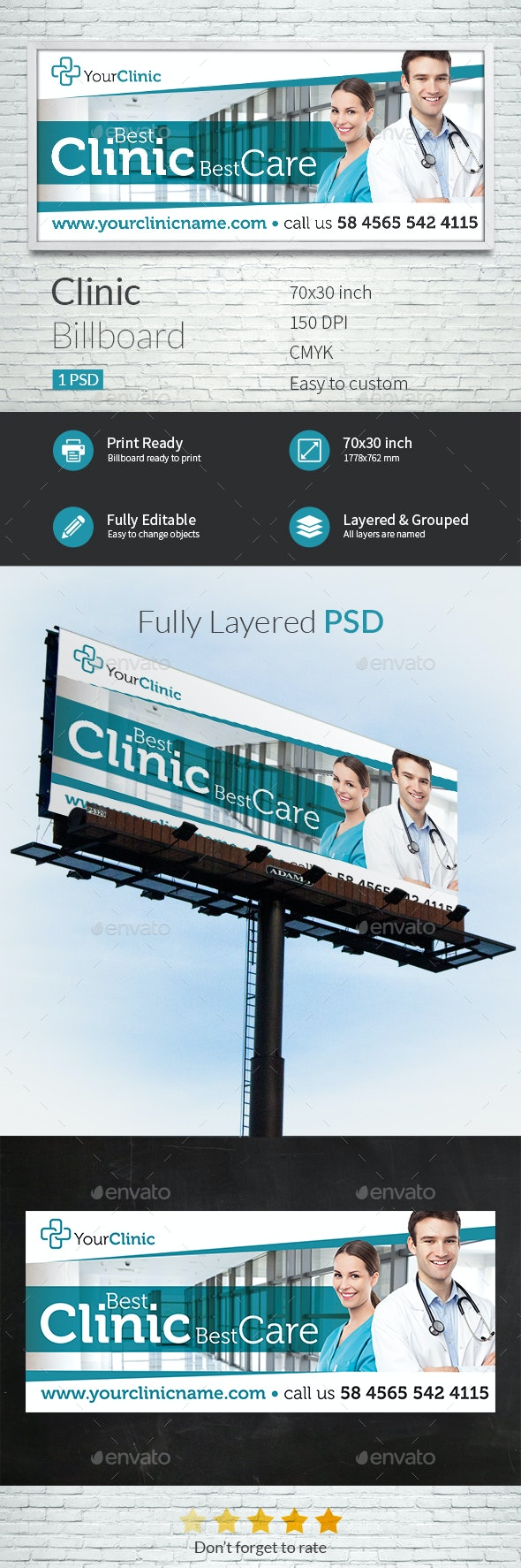 Clinic Billboard Template - Signage Print Templates