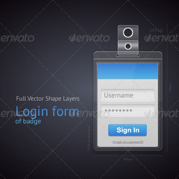 Vector Login Form of Badge