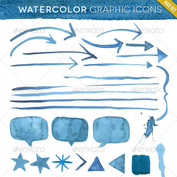 Hand Made Watercolor Graphic Element Kit