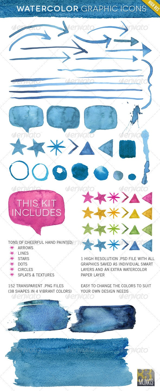 Hand Made Watercolor Graphic Element Kit - Flourishes / Swirls Decorative