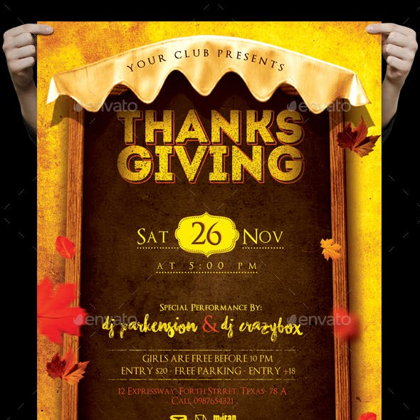 Thanksgiving Day Flyer And FB Cover