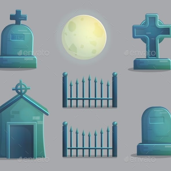 Spooky Graveyard Items for Game Design