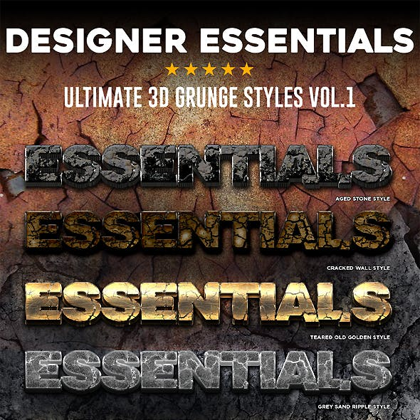 Designer Essentials Ultimate 3D Grunge Styles Vol.1