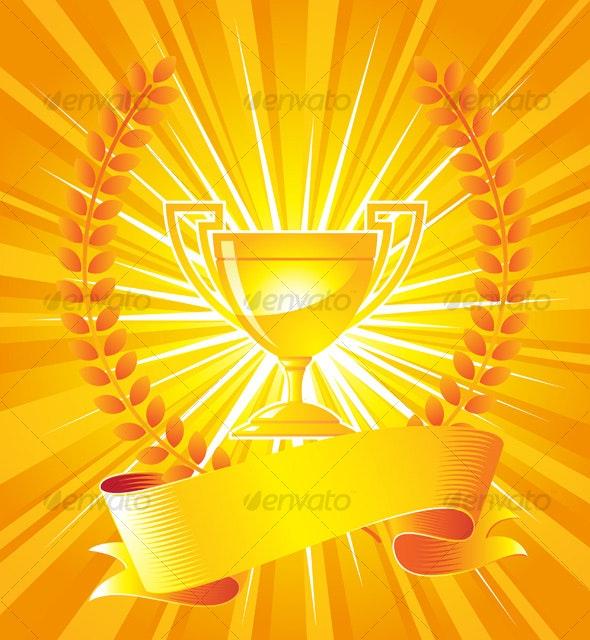 Gold trophy with laurel wreath - Miscellaneous Vectors