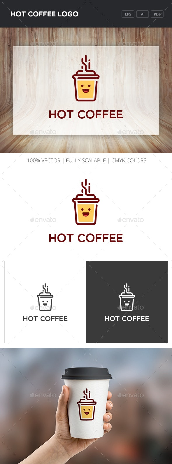 Hot Coffee Logo - Objects Logo Templates