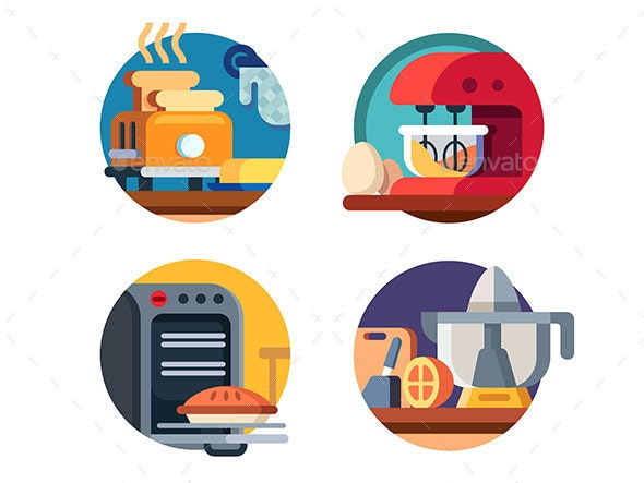 Kitchen Appliances Icons - Man-made Objects Objects