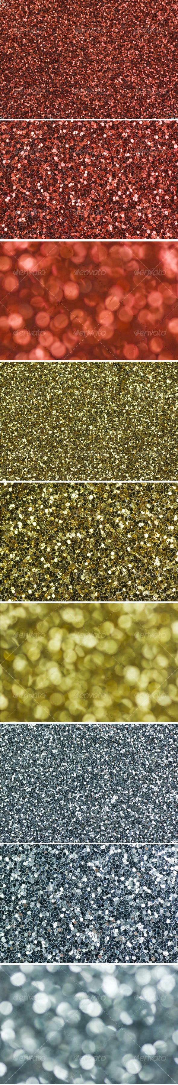 Red, Gold, Silver Glitter Background - Abstract Textures