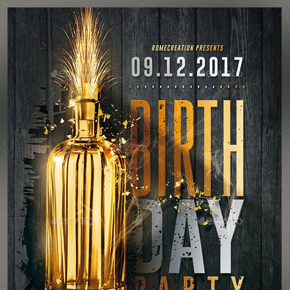 Gold Birthday Party | Flyer Template